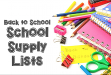 School Supply List graphic with various school supply items