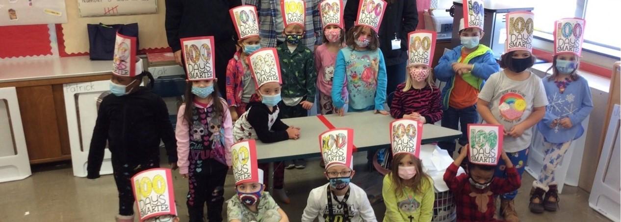 100 days photo at WES kindergarten