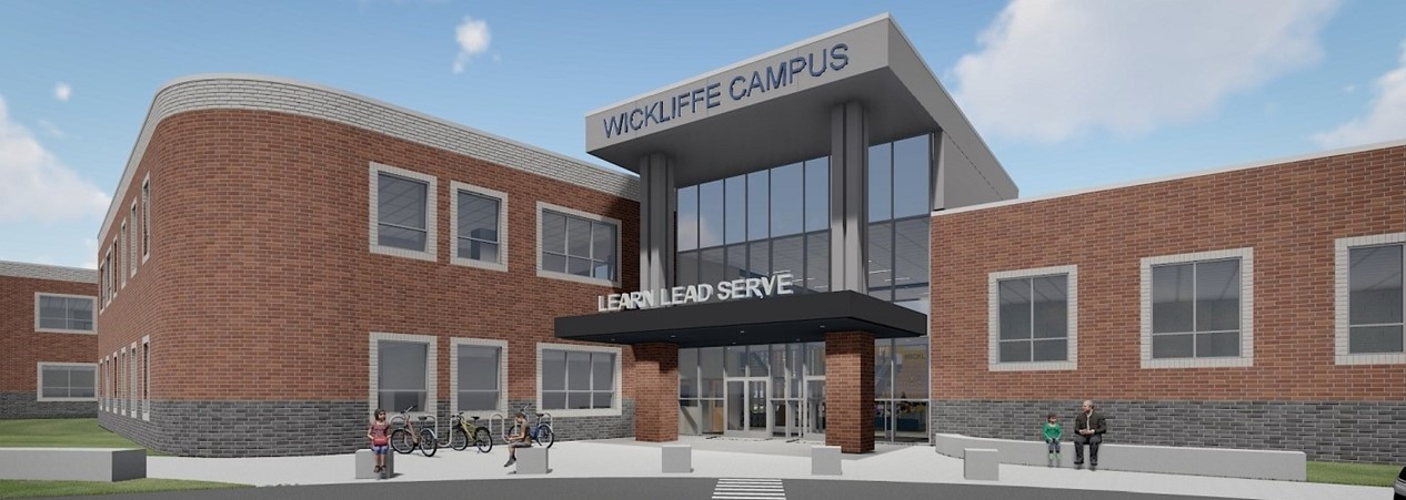 Rendering of New School front entrance