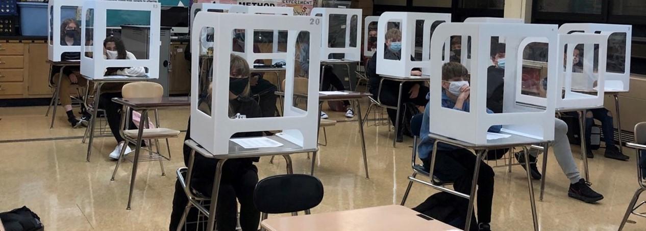 classroom w covid dividers